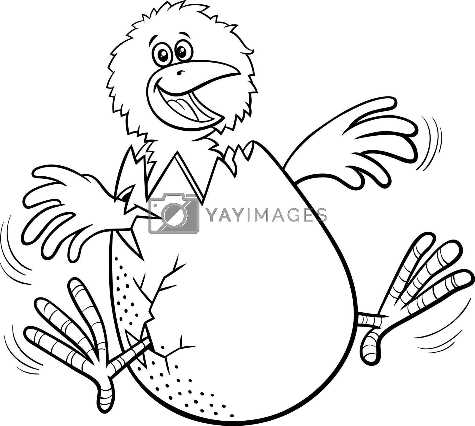 Black and white cartoon illustration of funny little chick hatching from egg coloring book page