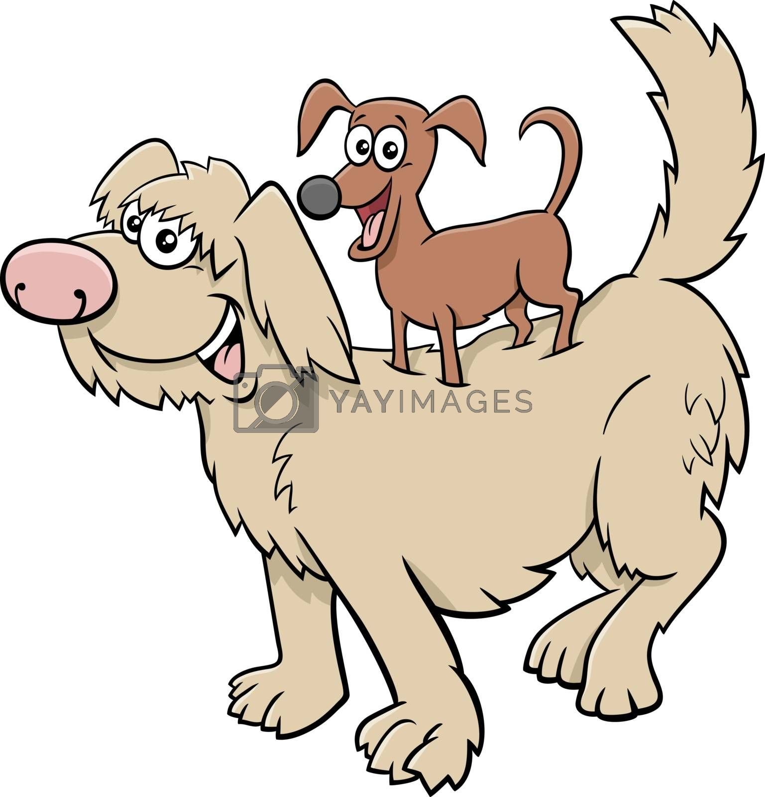Cartoon illustration of funny little dog on big one comic characters