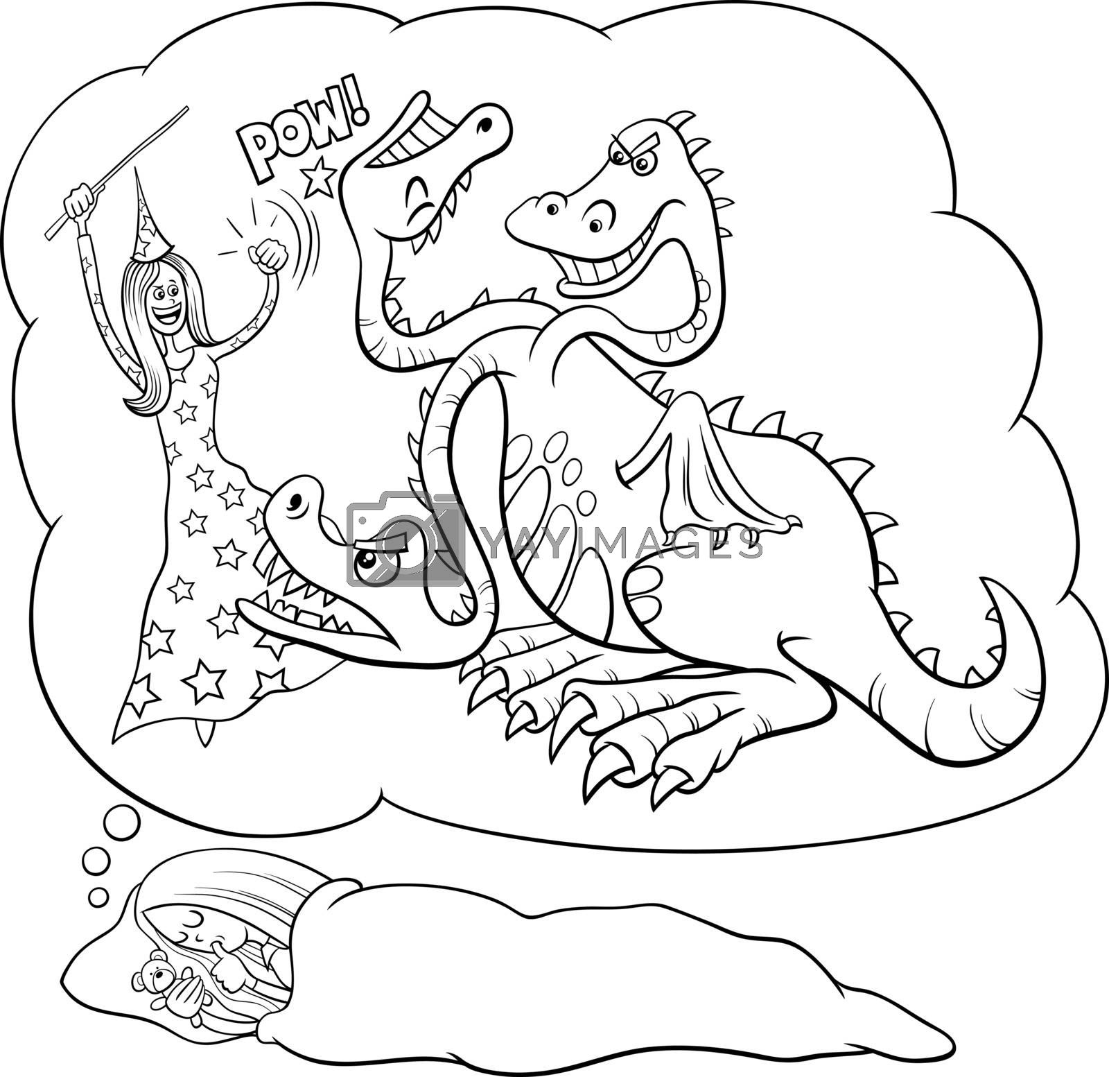 Black and white cartoon illustration of sleeping young girl dreaming about defeating the dragon coloring book page