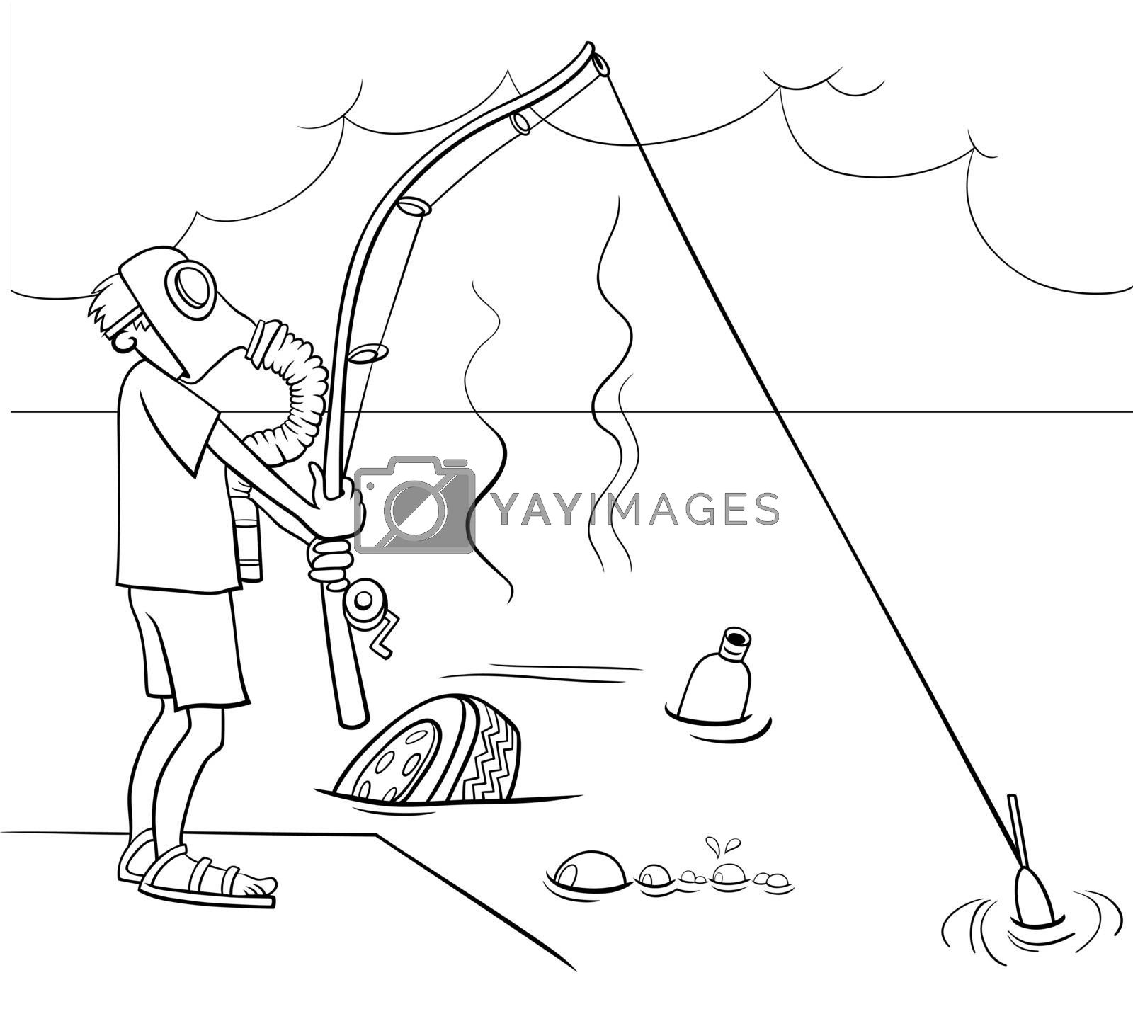 Black and white cartoon illustration of not very smart guy fishing in the sewage coloring book page