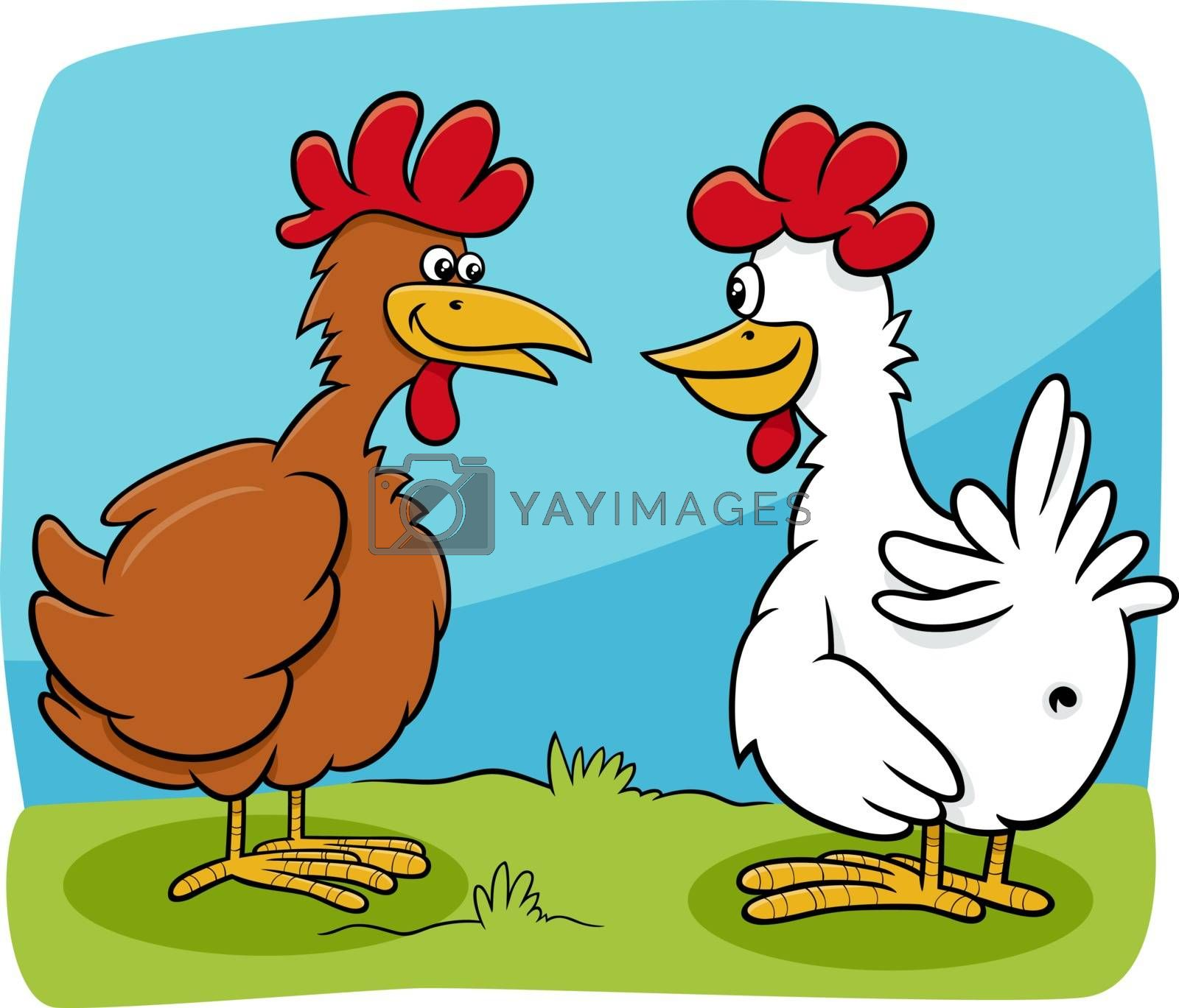 Cartoon illustration of two hens farm birds characters talking