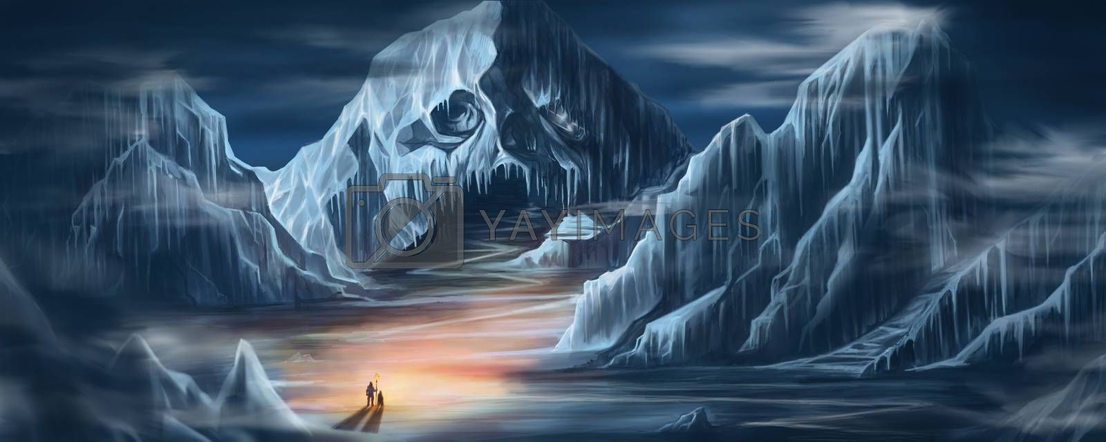 Digital illustration painting design two man holding fire torch standing in front of the Snow Skull  Mountain in the dark world