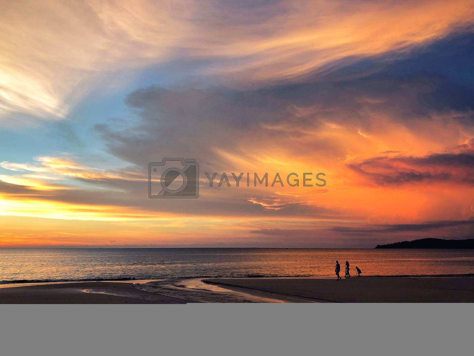 Panoramic view of sunset at Karon beach in Phuket, Thailand