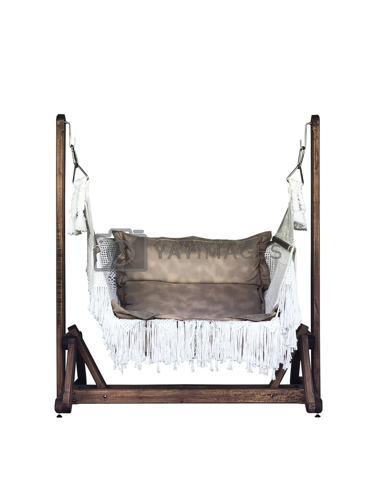 Classic outdoor chair leather swing isolalated on white blackground