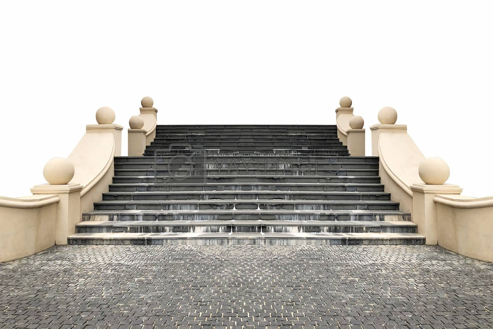 Stairs Roman style on white background