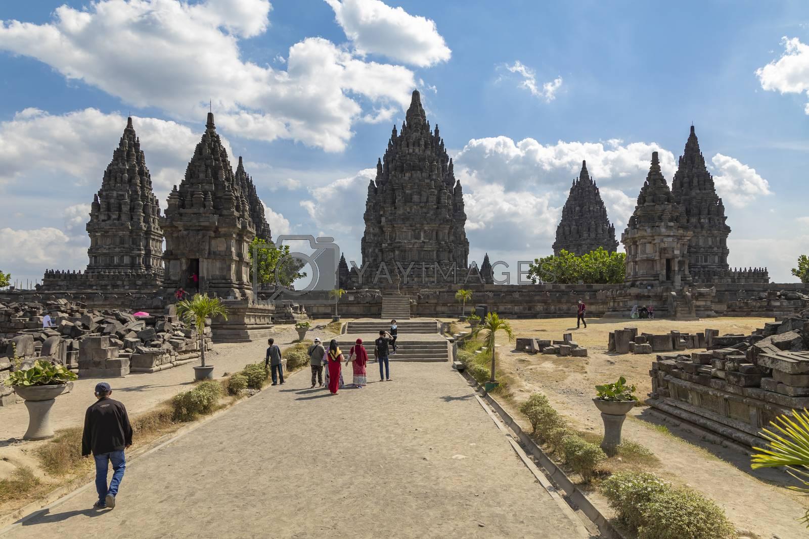 Prambanan, Indonesia - July 17, 2019: Access area to the sanctuaries of the Prambanan ancient Hindu temple complex, Rara Jonggrang, in the special, Yogyakarta region, Indonesia.