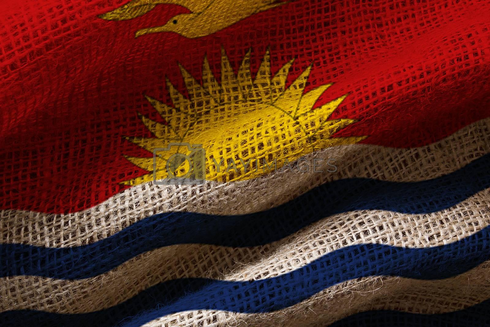 Close-up photograph of the flag of Kiribati