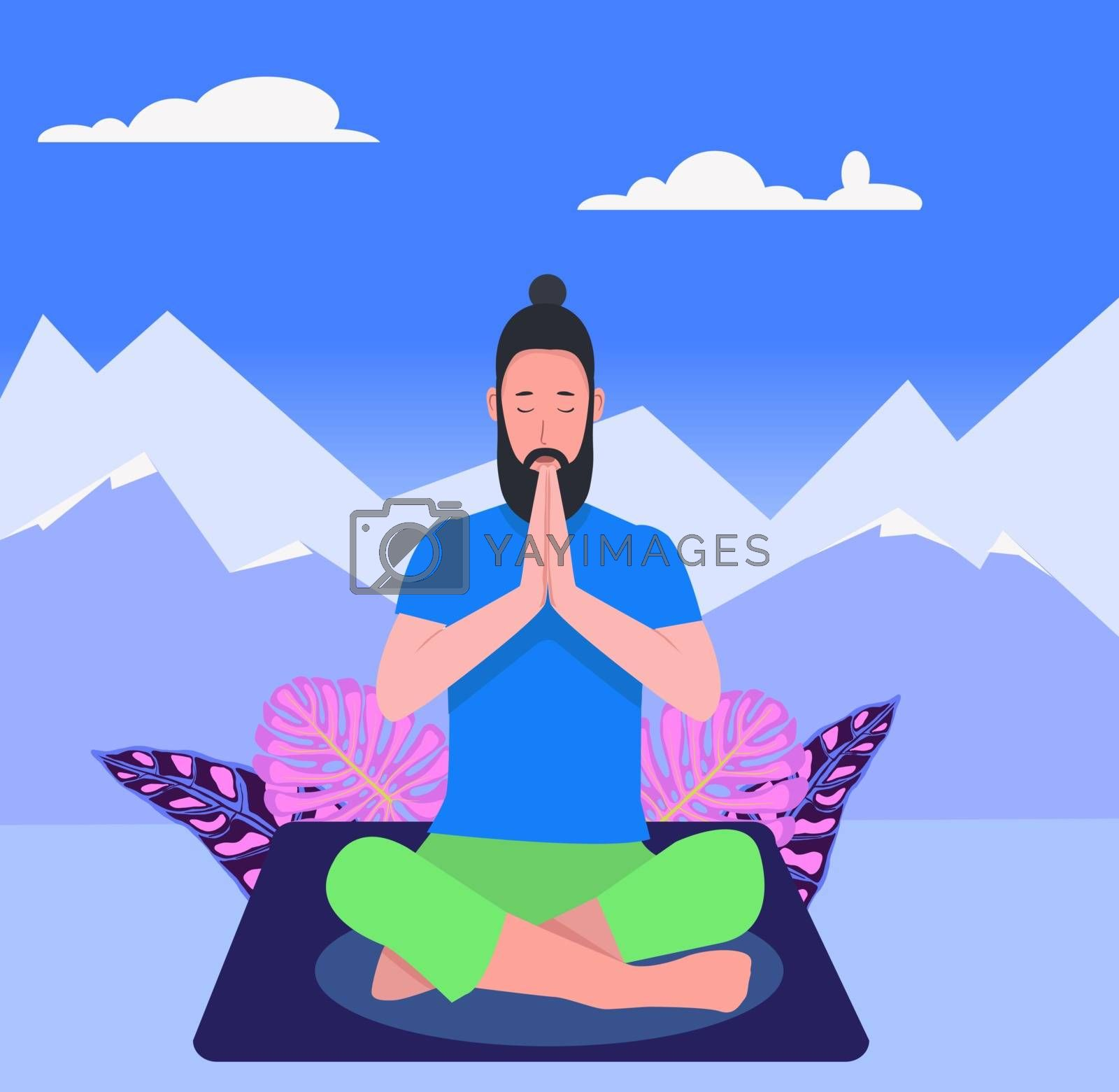 A Hipster man in yoga lotus practices meditation on silhouette mountains background. Practice of yoga. Healthy lifestyle. Man doing yoga sitting in padmasana lotus pose relaxing.