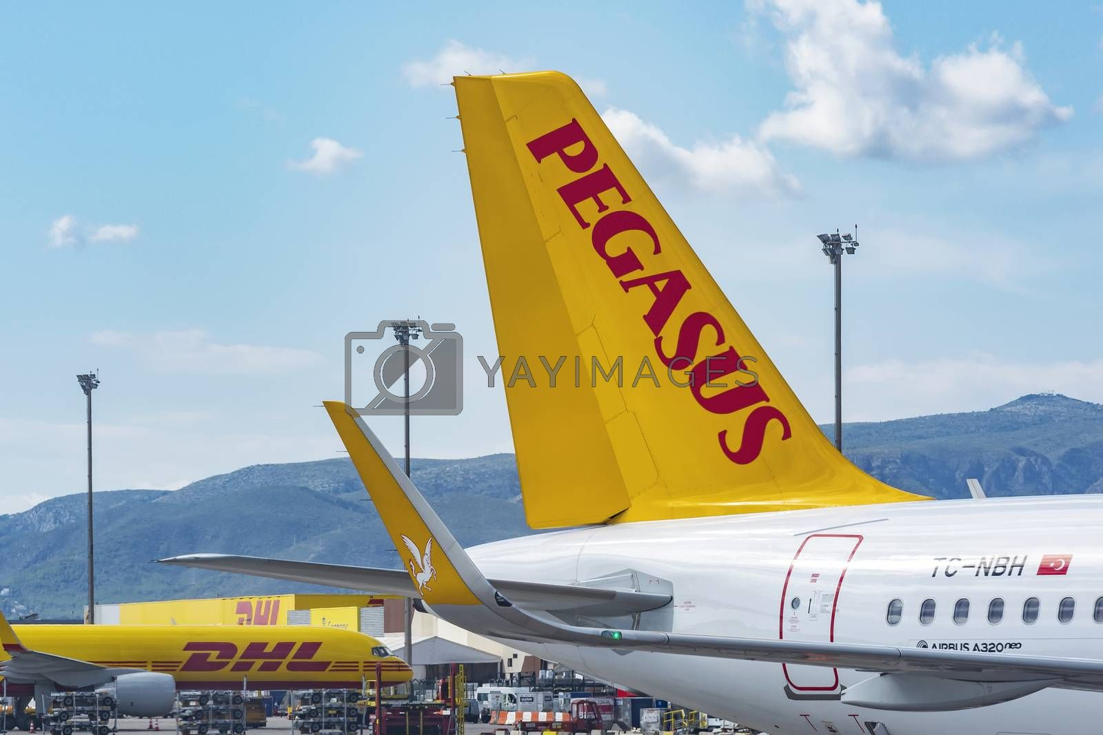 Royalty free image of Parking of aircraft of international postal services at the airp by Grommik