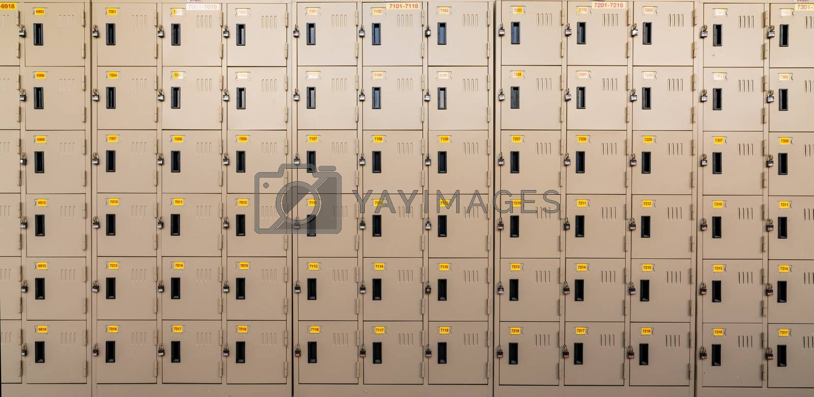 Closeup beige locker with lock and numbered yellow tags at locker room. Locker for safety and security storage. Row of locker with locked door background.