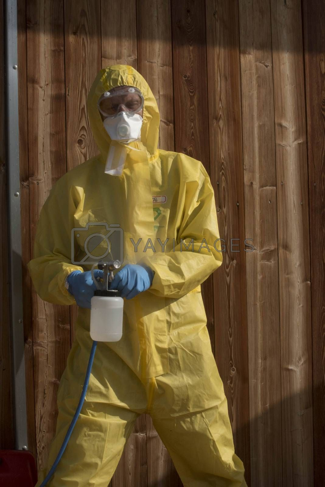 wearing protective suit in the epidemic lock as protection against of diseases
