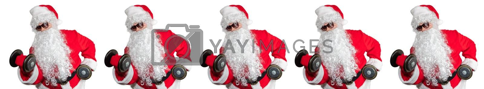 Santa Clauses working out, lifting dumbbells and doing bicep curls. Pattern style, Isolated on white background. Sport, fitness, bodybuilding conept. Banner size, copy space.