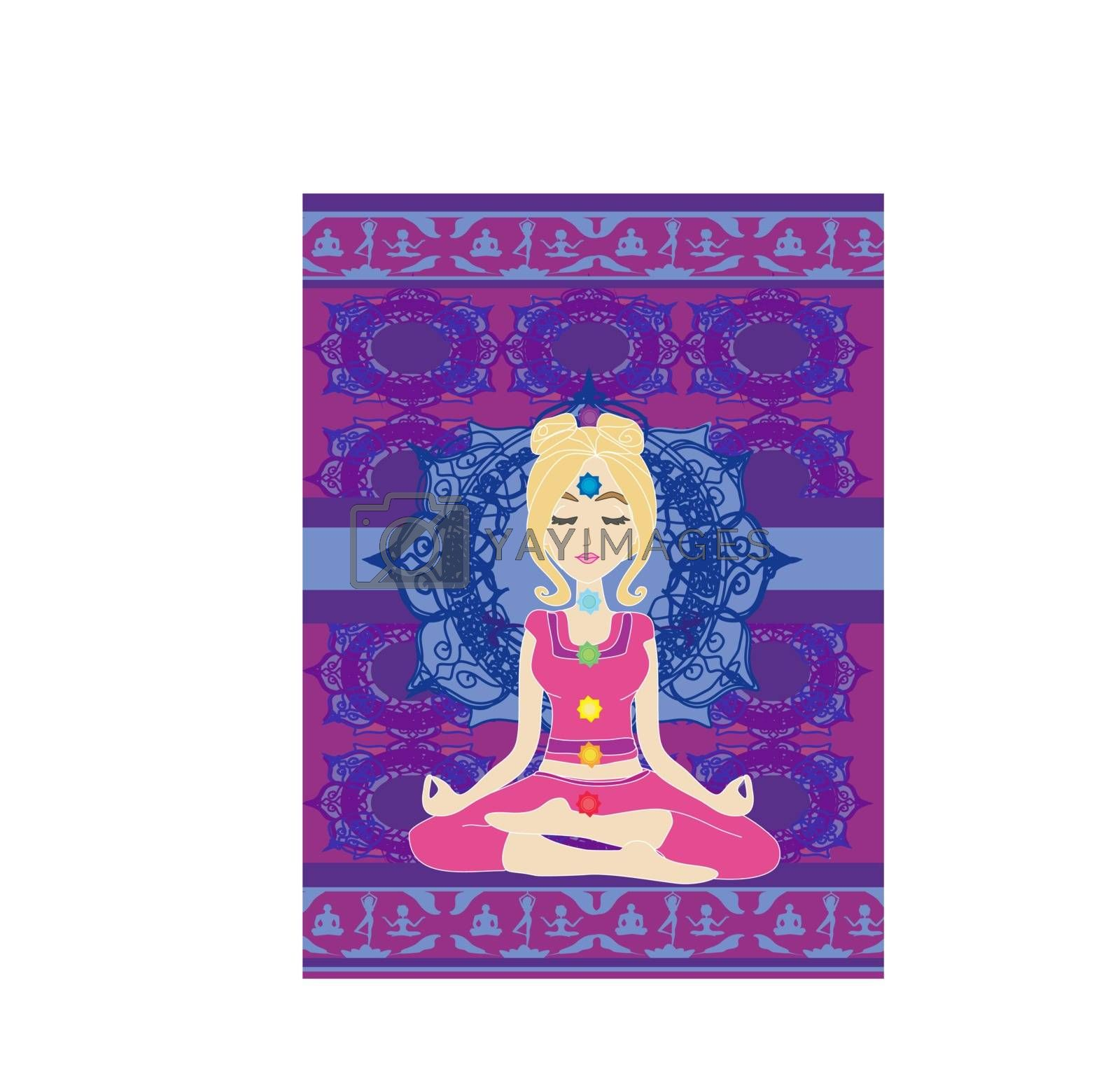 Girl sits and meditates,abstract card