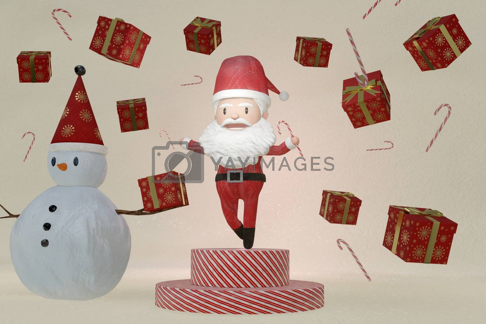 3D Rendering  , The dance of a cheerful Santa Claus and Snowman on brown ICE background . The Concept of Christmas.