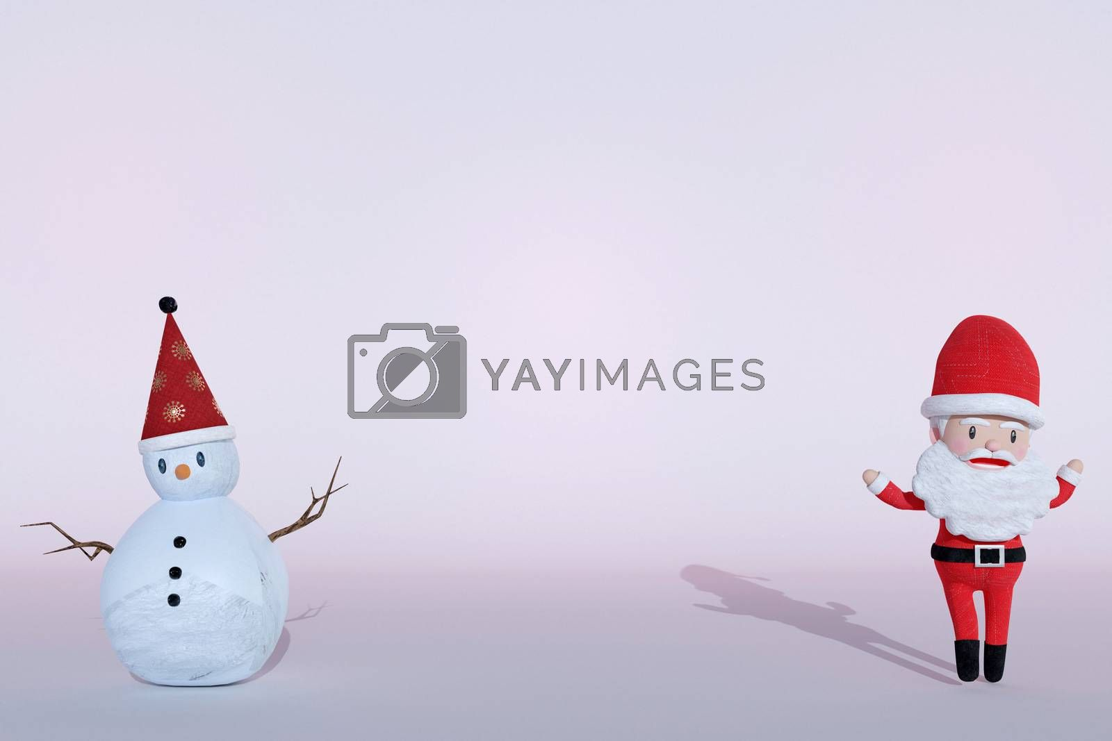 3D Rendering  , The dance of a cheerful Santa Claus and Snowman on ICE background . The Concept of Christmas. Copy space. Place for text.