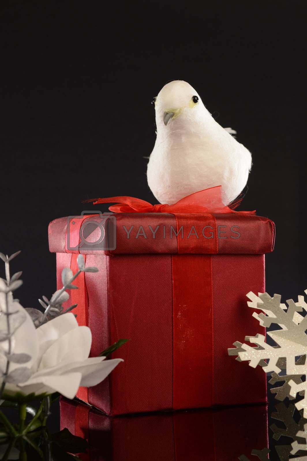 A closeup image of a red Christmas gift with decorative items to compliament the festive season.