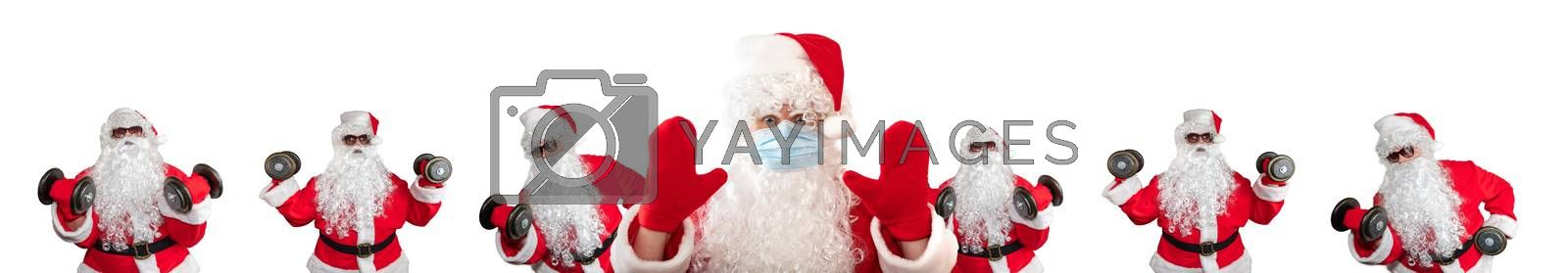 Santa Claus wearing a medical mask, having his both hands up, eyes wide open in warning gesture. Multiple Santas working out in the background behind him. Isolated on white background. Banner size.
