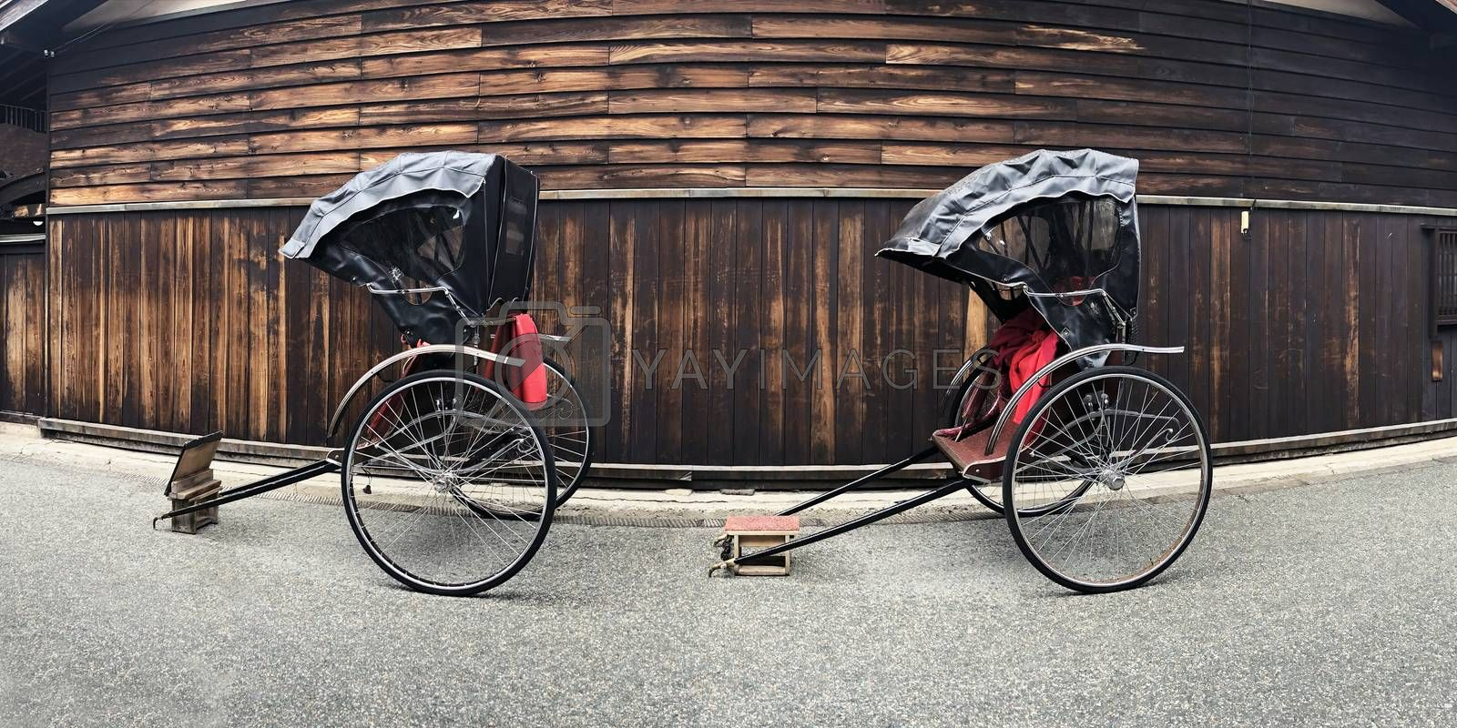 Ancient Japanese Tricycles at shopping street in takayama, Japan