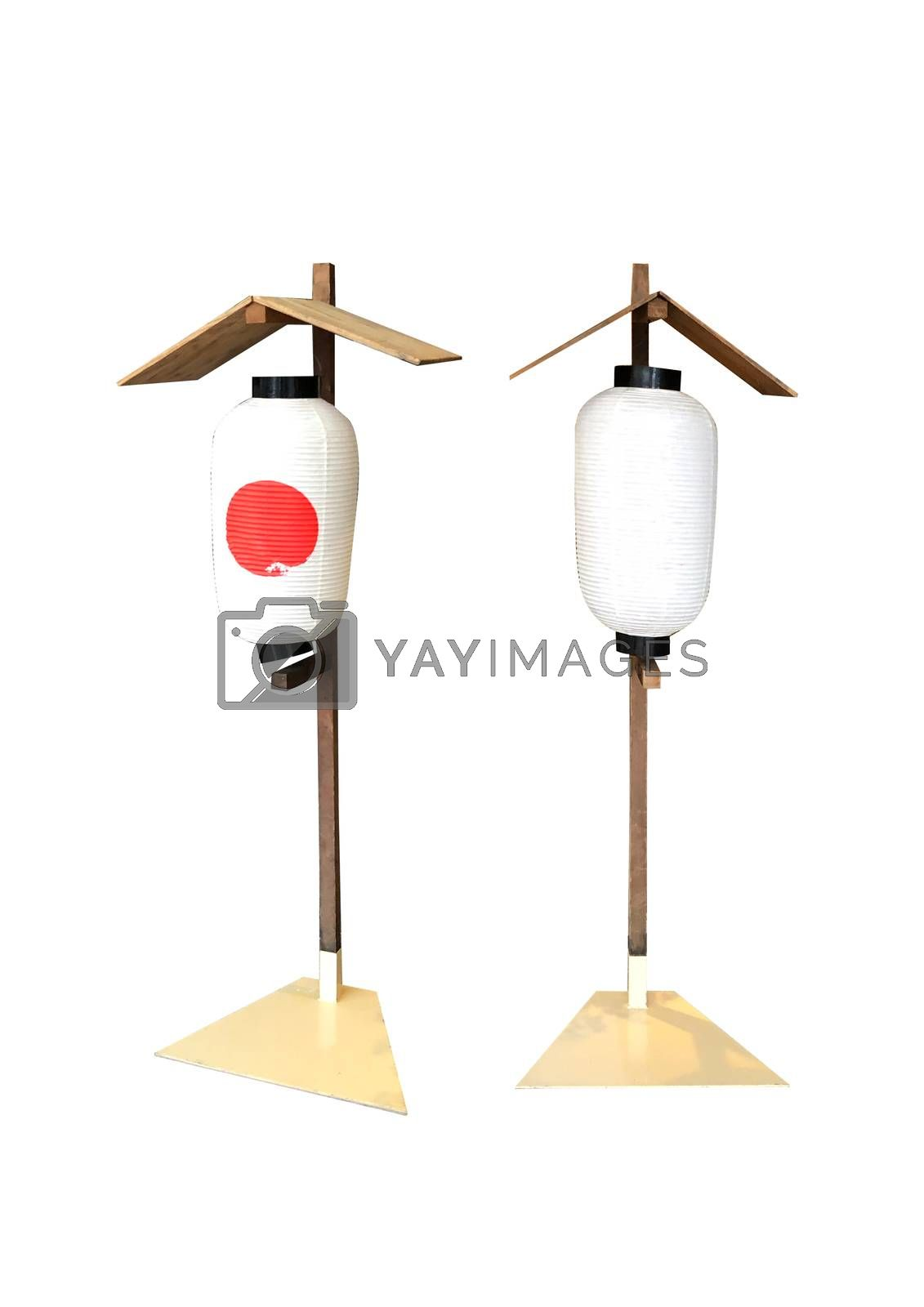 Paper lanterns japanese style on white background