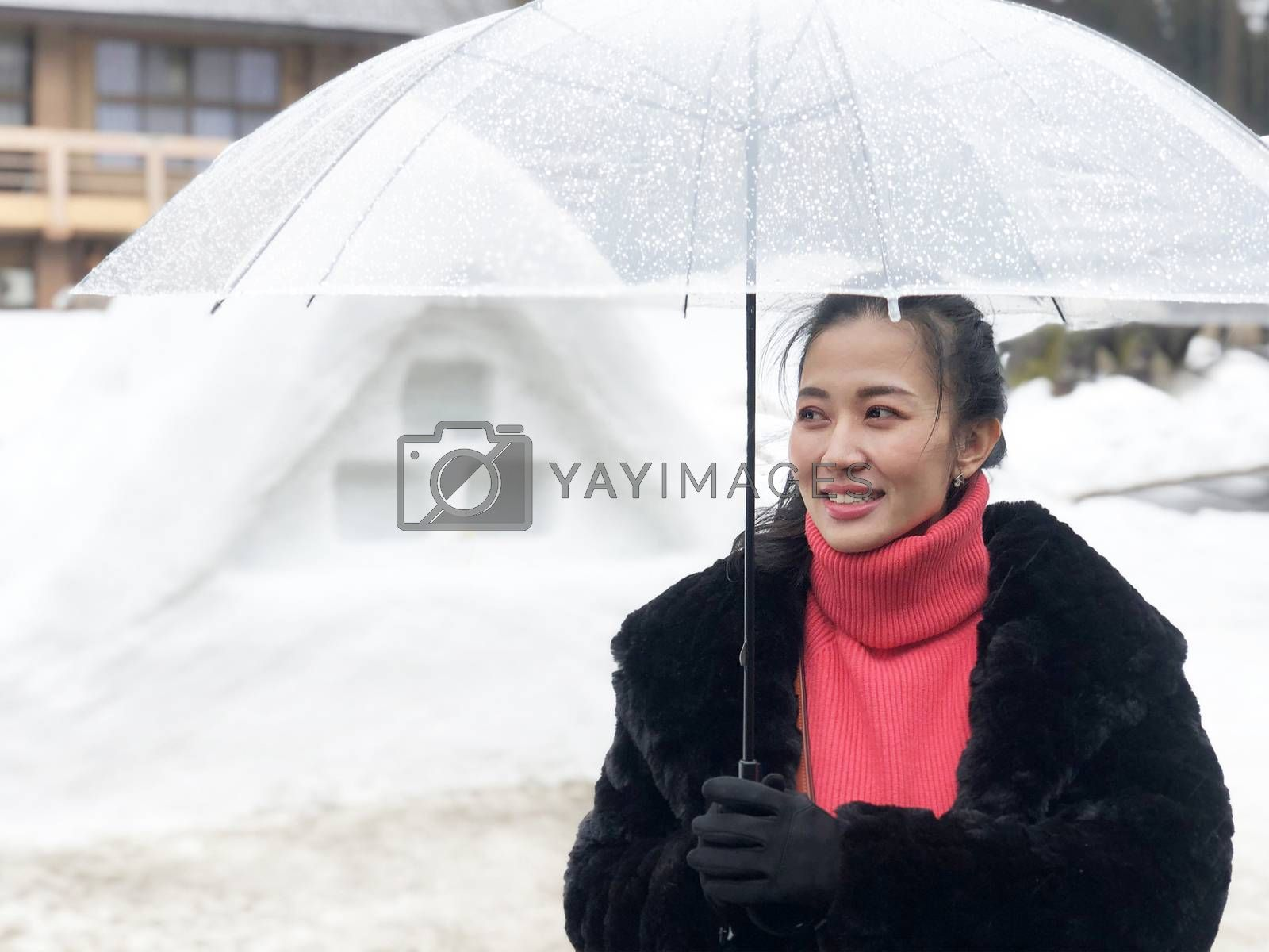 Woman tourist holding transparent umbrella in the winter and snow is falling at Shirakawago village at Gifu, Japan.