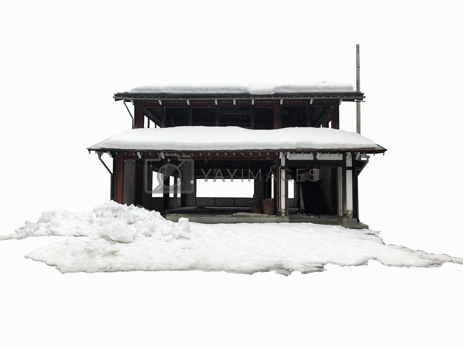 Front view of garage cover with snow in winter on white background