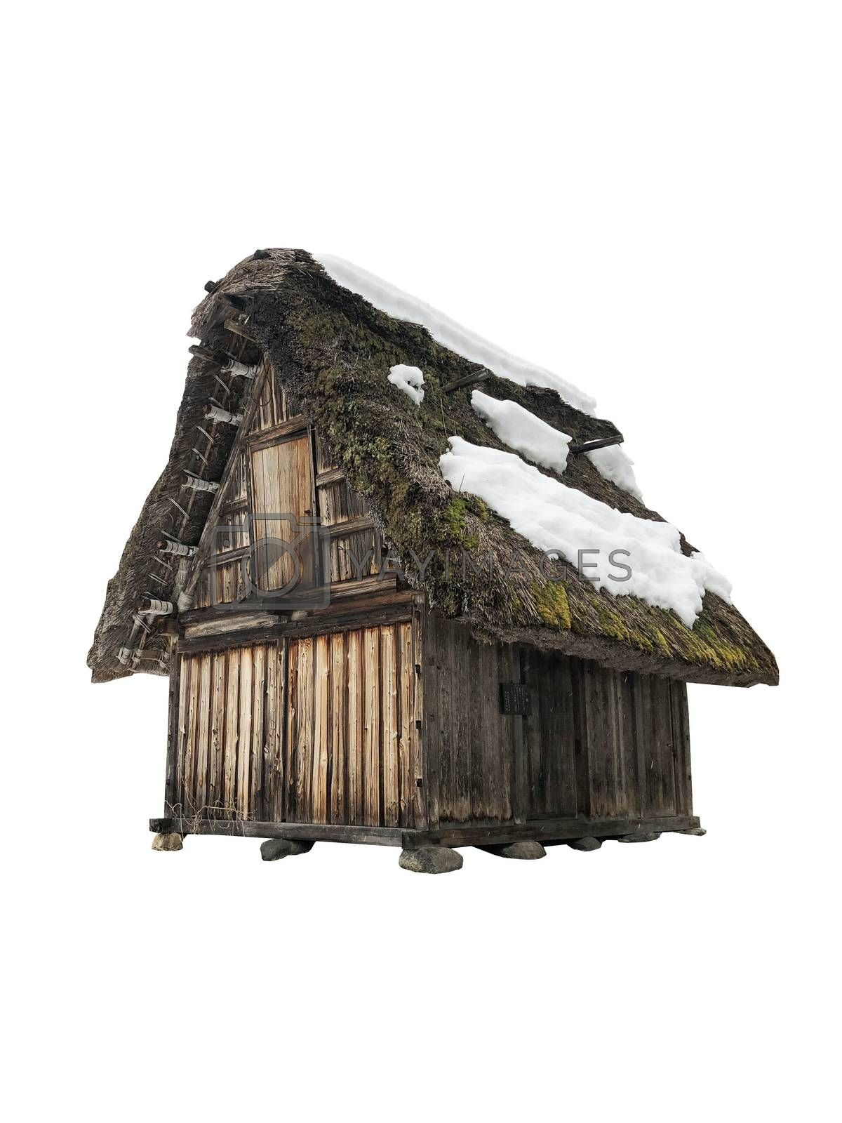 Traditional house in Shirakawago, Gifu Prefecture, Japan on white background