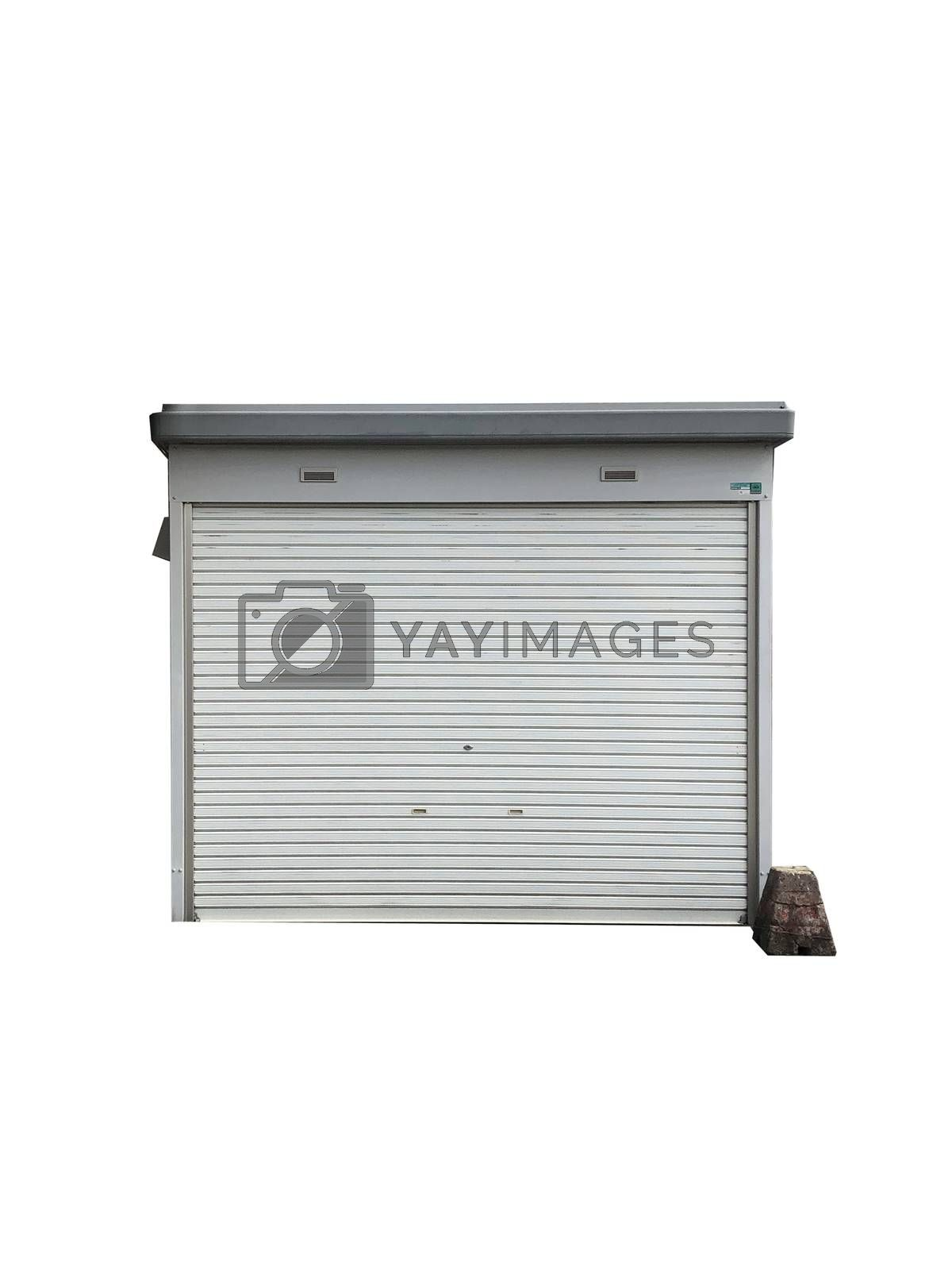 Front view of garage on white background
