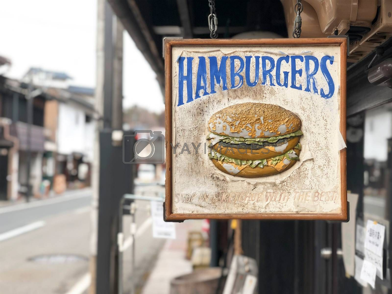 Vintage berger sign food and restaurant on the street