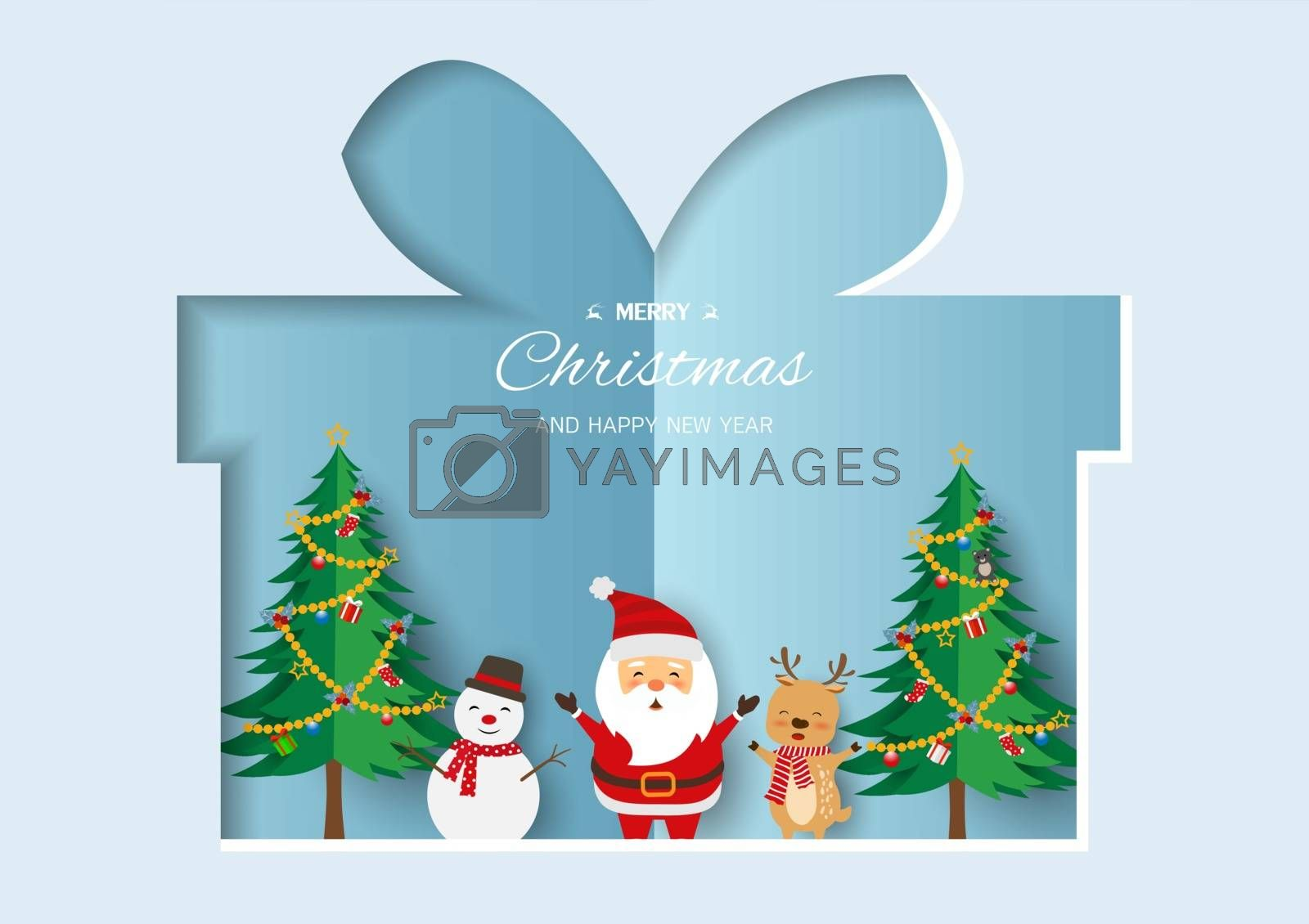 Merry Christmas and Happy new year greeting card,Santa Claus with friends happy on soft blue paper art background by PIMPAKA