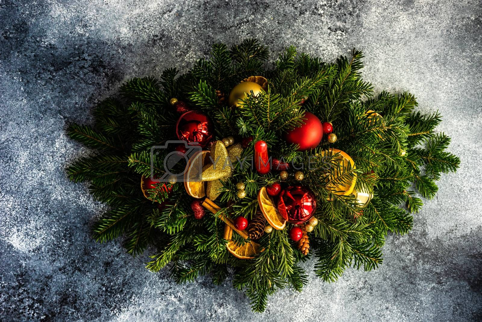 Christmas festive composition with balls and decor on stone background with copy space