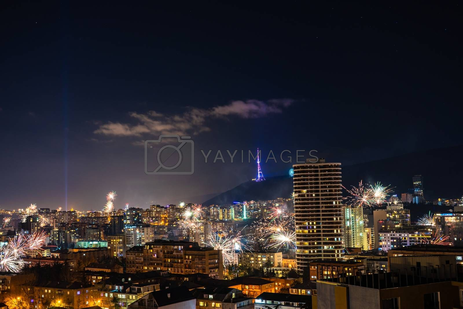 Georgia - Tbilisi. Meeting New 2020 year with fireworks over the central part of Tbilisi, capita city of Republic of Georgia in Caucasus region. 31.12.1019-01.01.2020