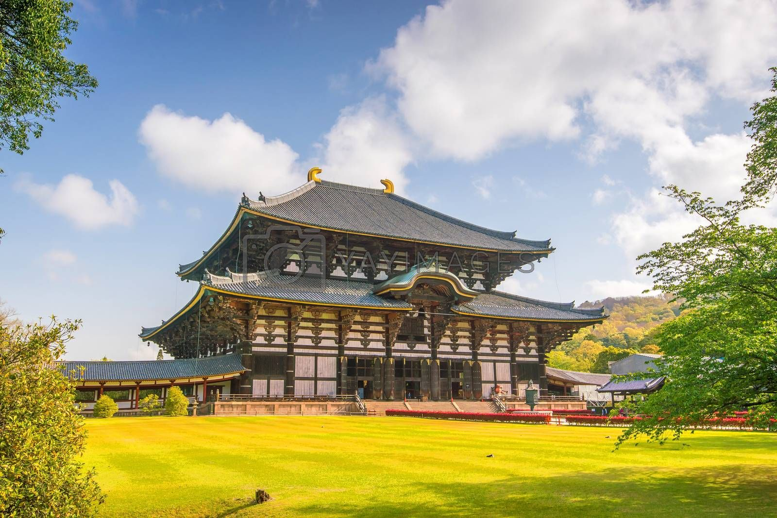 Todaiji Temple in Nara, Japan with blue sky