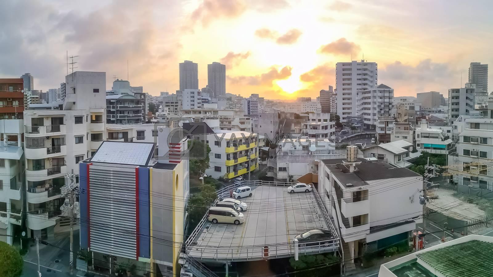 Downtown Naha city skyline in Okinawa, Japan at sunrise