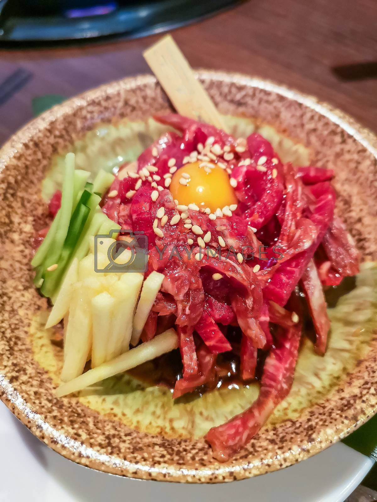 Okinawa style local beef dish in Naha, Japan