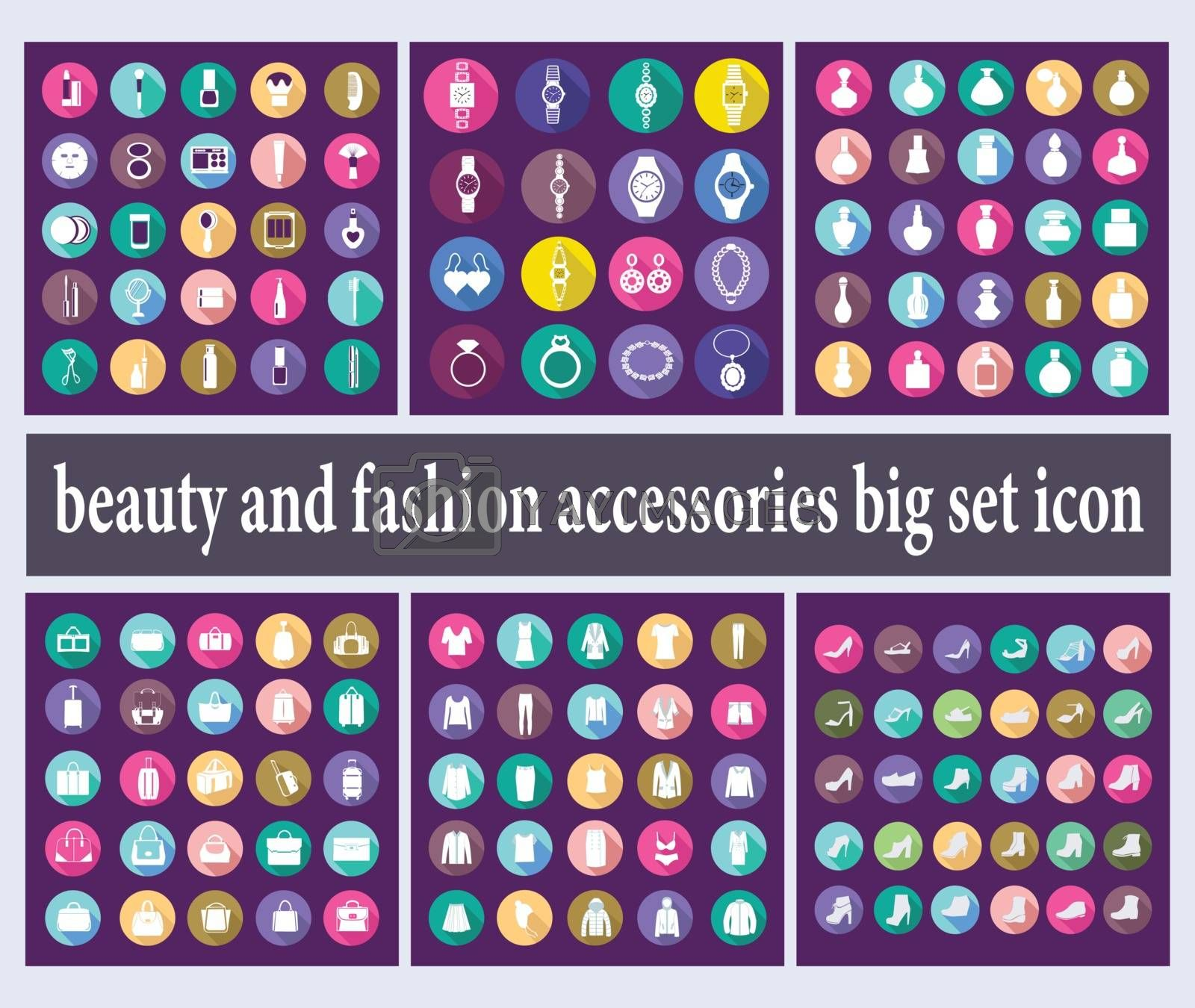 Vector big set of Shopping symbols of woman fashion clothes, jewelry, accessories and Cosmetic beauty items in flat style.