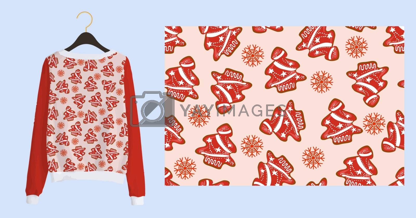 Trending Christmas print for fabric and textile. New Years seamless pattern. Christmas gingerbread. Winter pattern on a pink background.