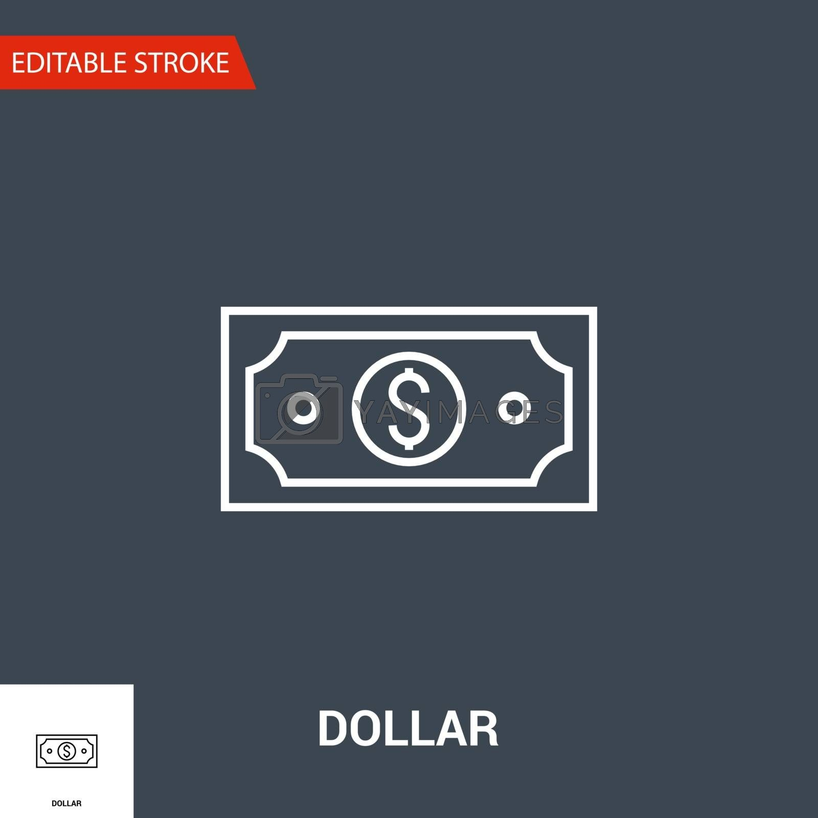 Dollar Icon. Dollar Related Vector Line Icon. Isolated on Black Background. Editable Stroke.