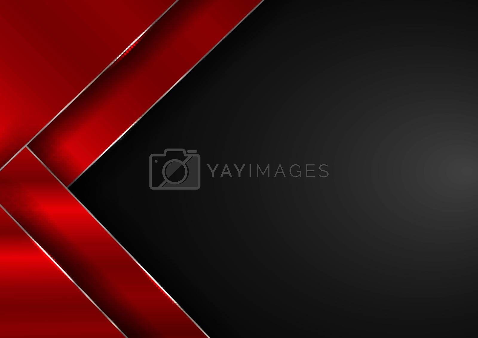 Abstract elegant red geometric overlap layers with stripe silver line and lighting on black background. Luxury style. Vector illustration