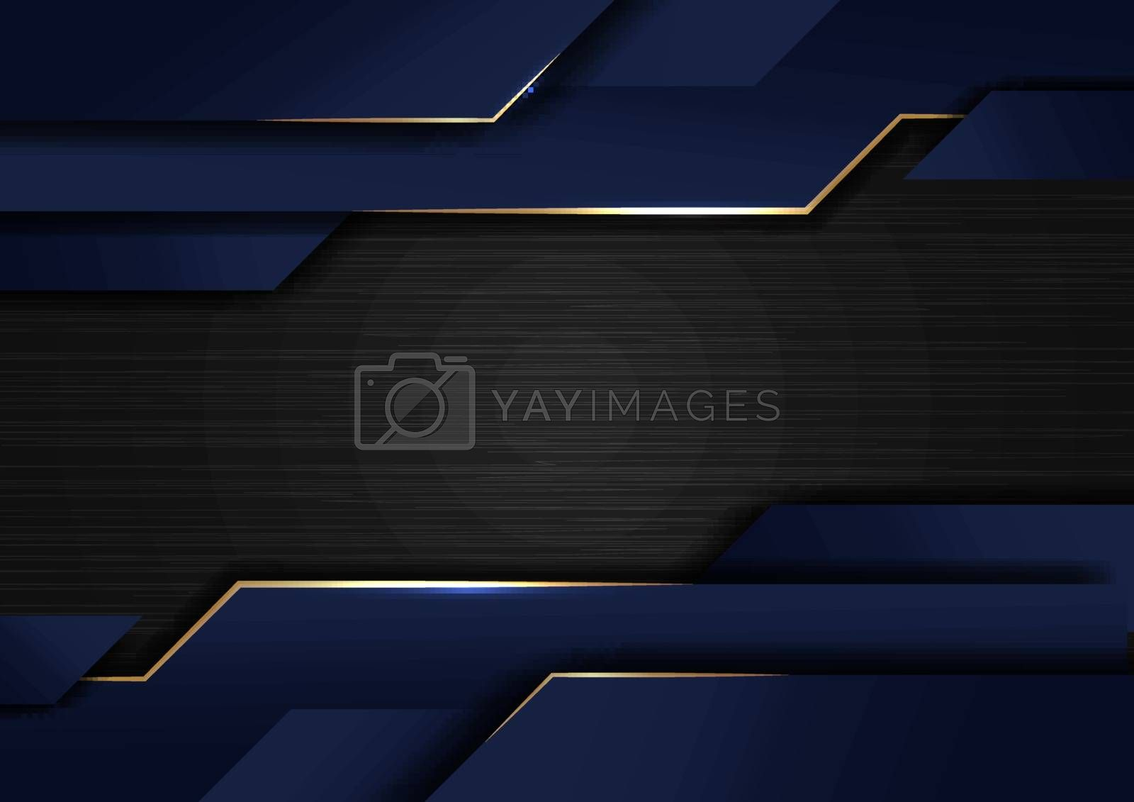 Abstract technology geometric glowing gold and blue color shiny motion dark metallic background. Template with header and footers for brochure, print, ad, magazine, poster, website, magazine, leaflet, annual report. Vector corporate