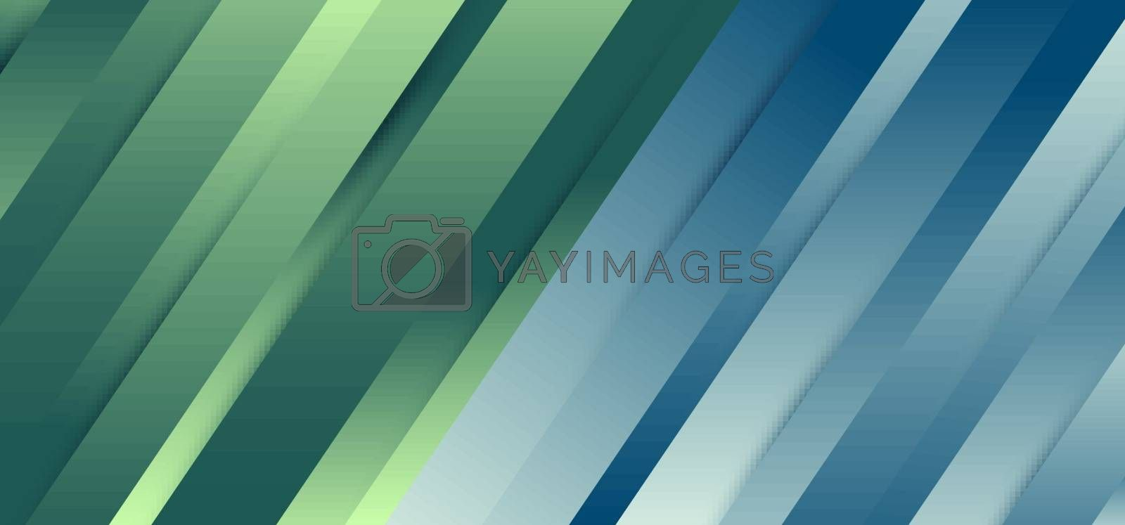 Abstract premium diagonal line blue and green gradient dynamic shadow background and texture. Vector illustration