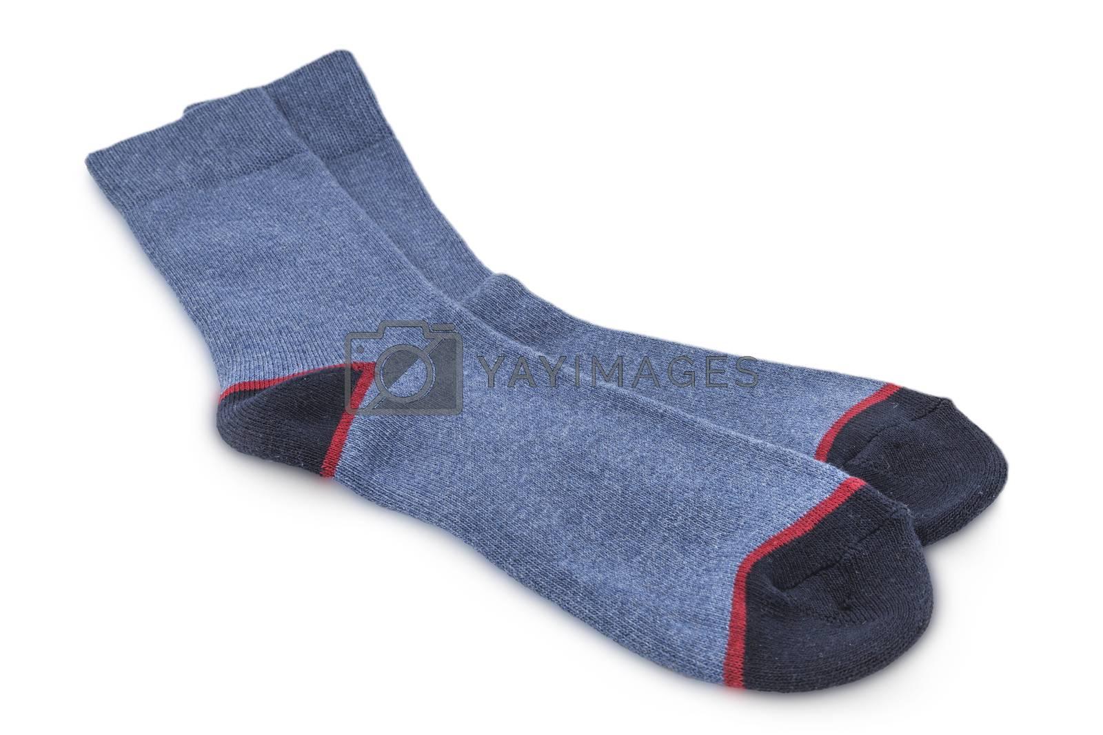 winter woolen men socks isolated on white background