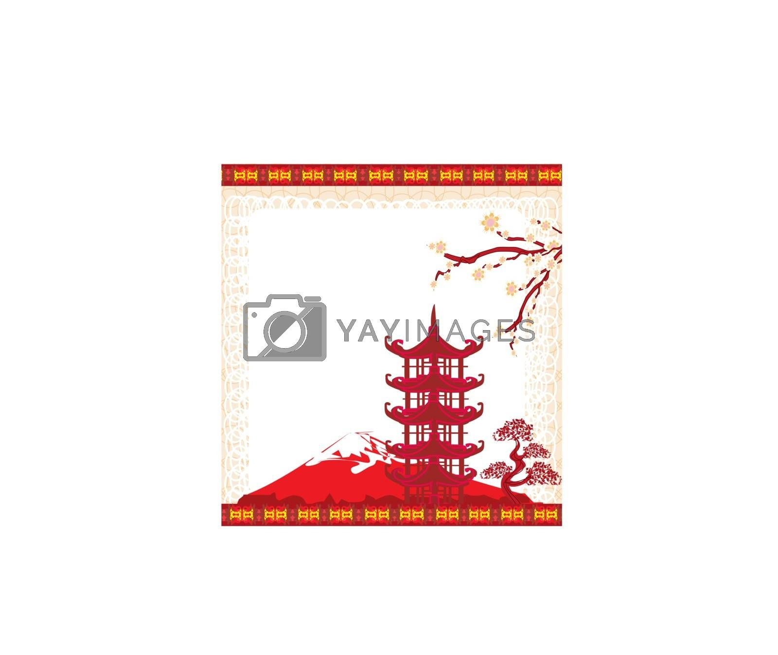 Elegant frame with Chinese temple