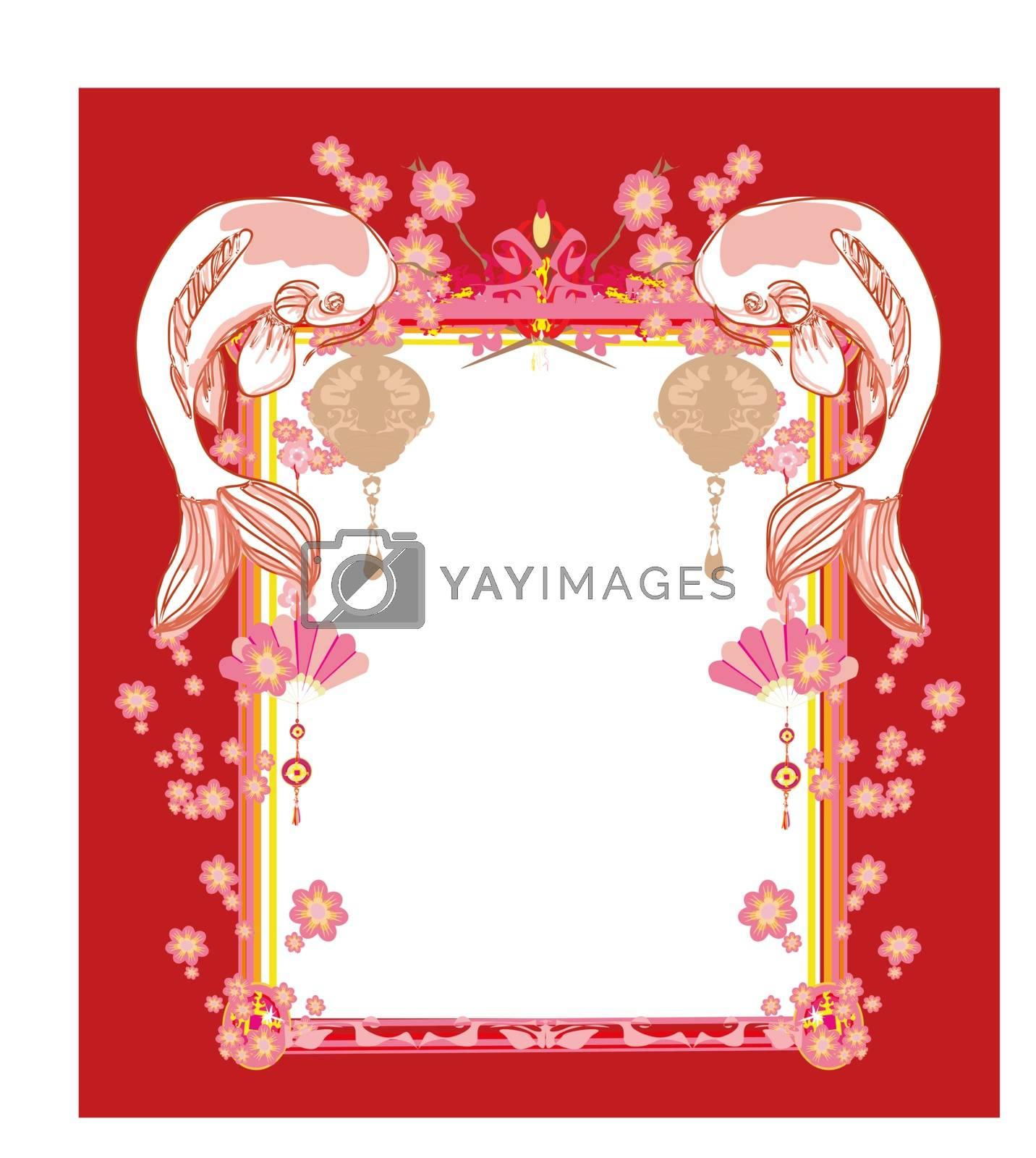 Japanese koi vintage frame