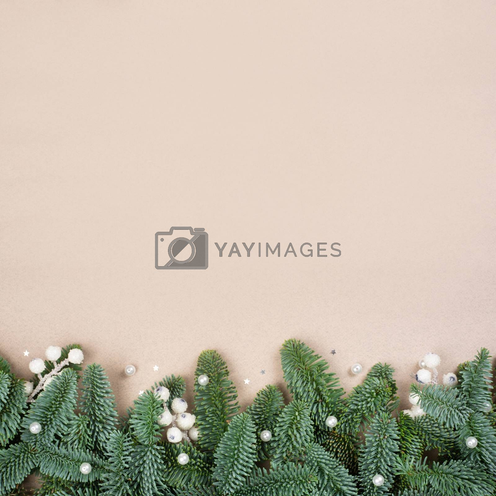 Traditional green christmas tree noble fir and white decor baubes border frame on craft paper background copy space for text