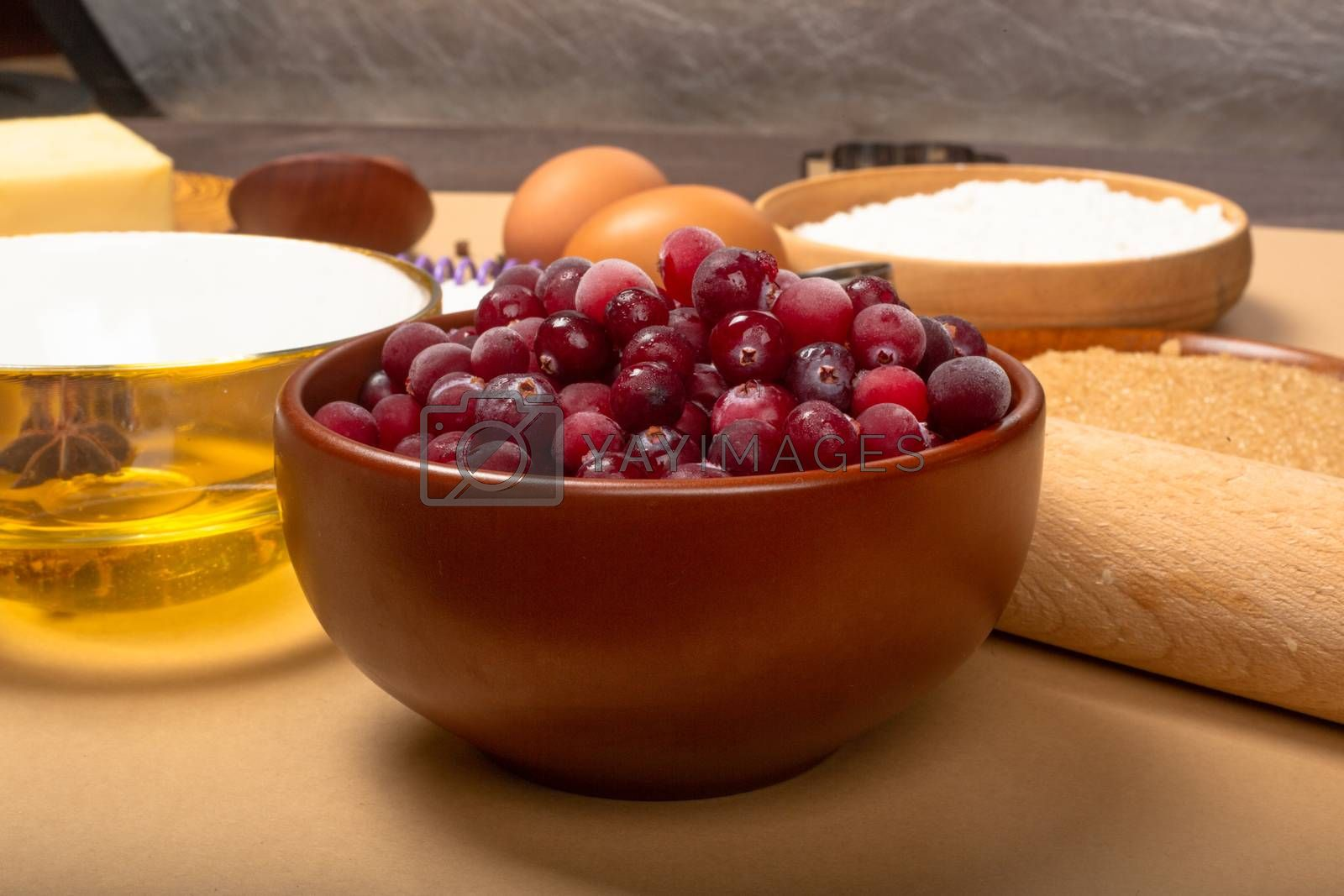 Frozen cranberries, winter cooking concept, Christmas holidays background
