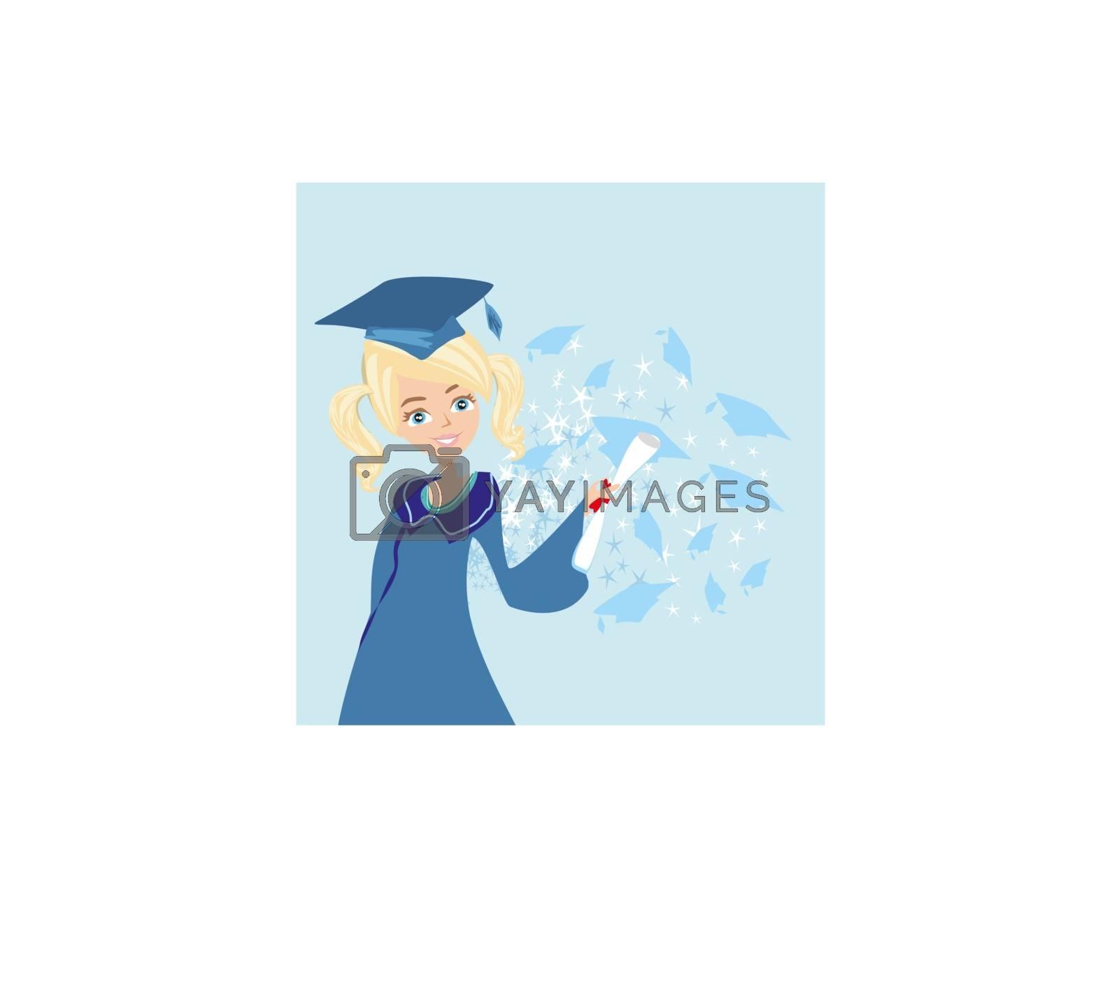 Graduation happy girl card