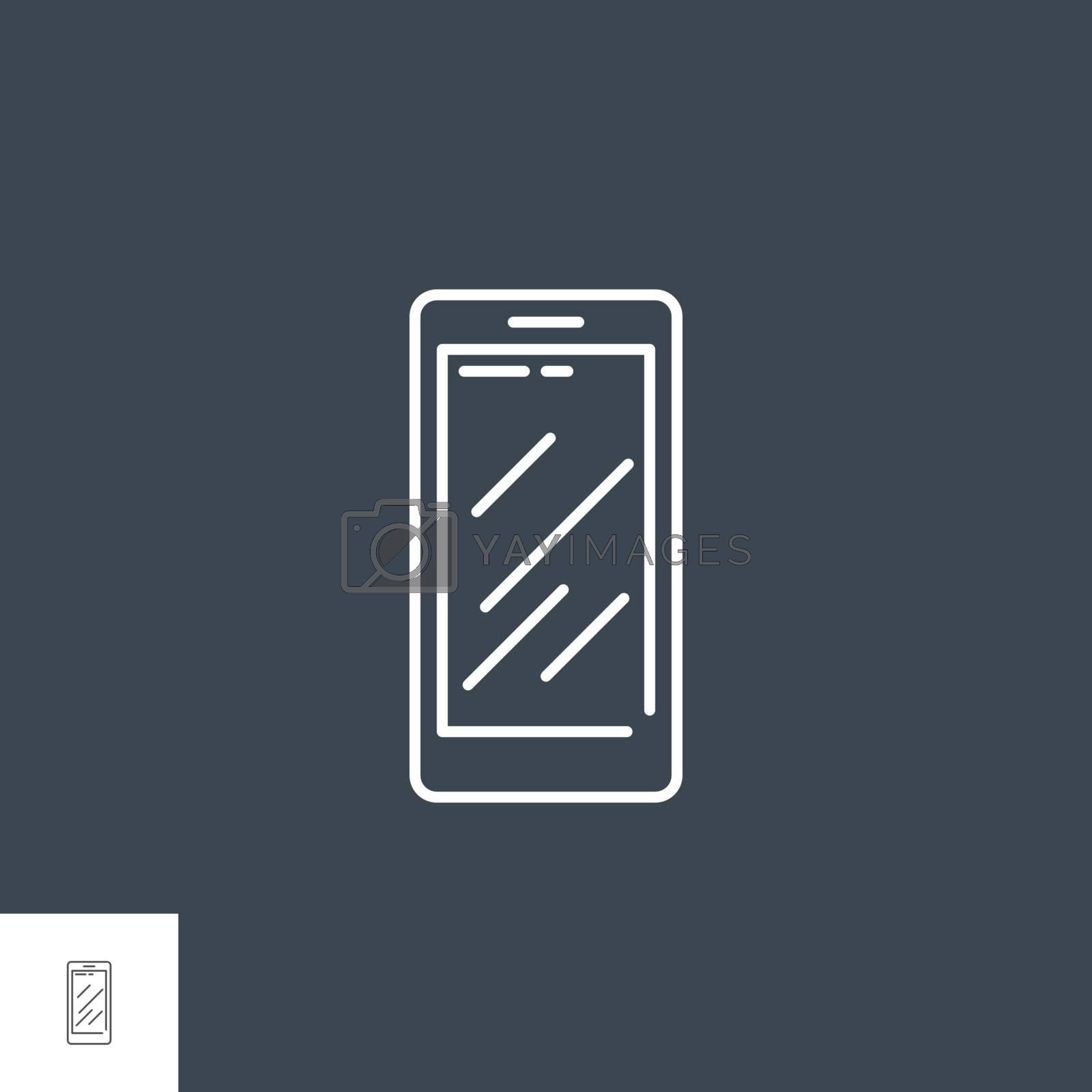 Smartphone Related Vector Line Icon. Isolated on Black Background. Editable Stroke.