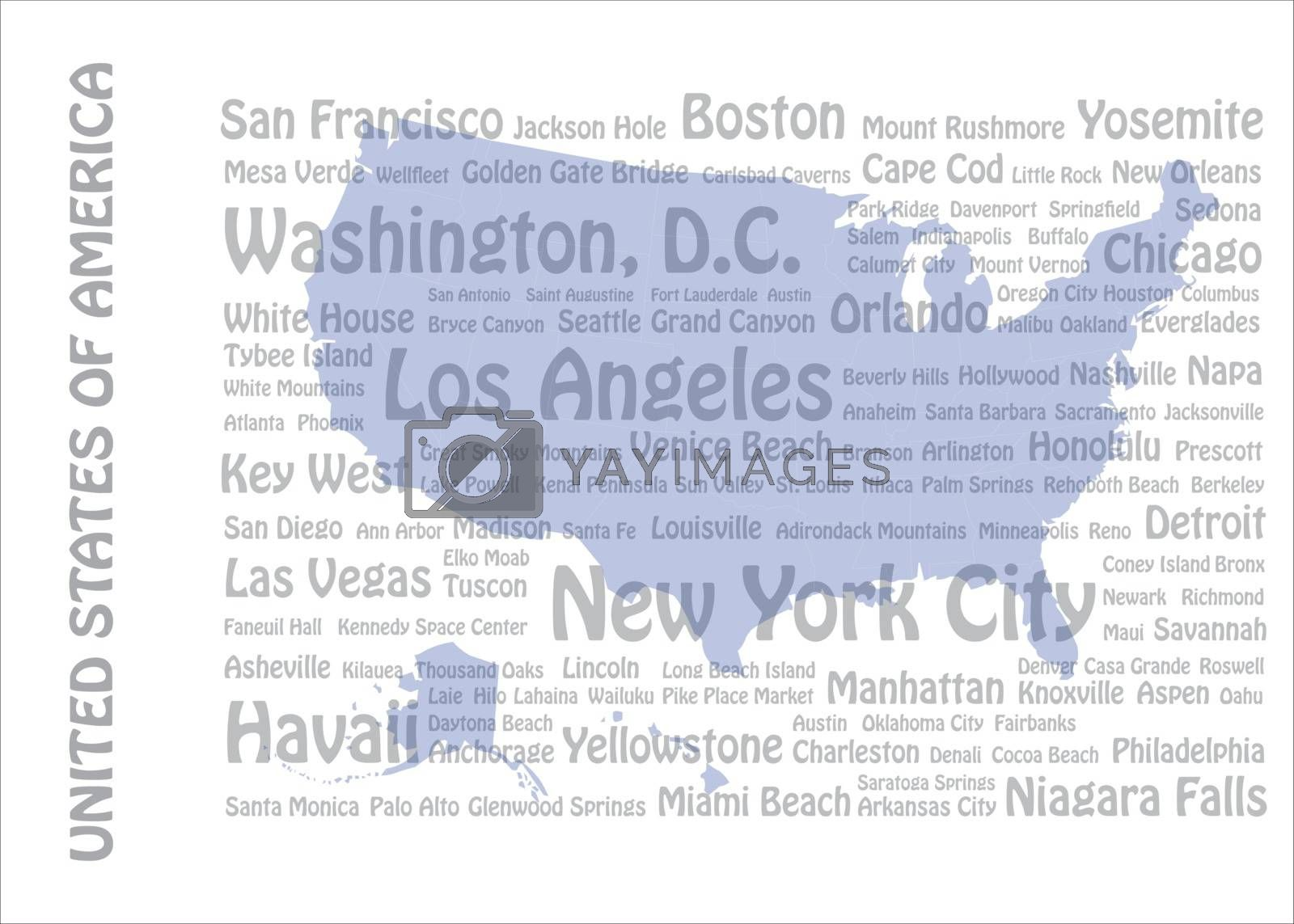 Travel to USA concept with blank map of USA and names of American cities and landmarks in the background.