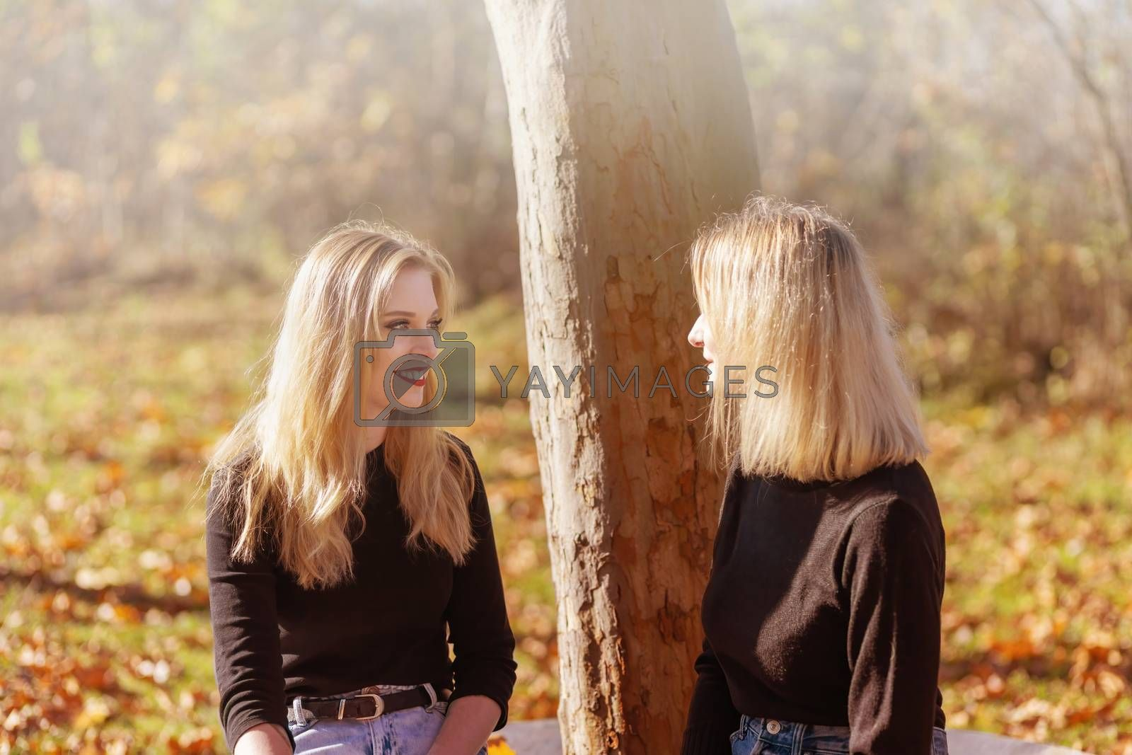 Couple of attractive young girls talking together in autumn park. Horizontally.