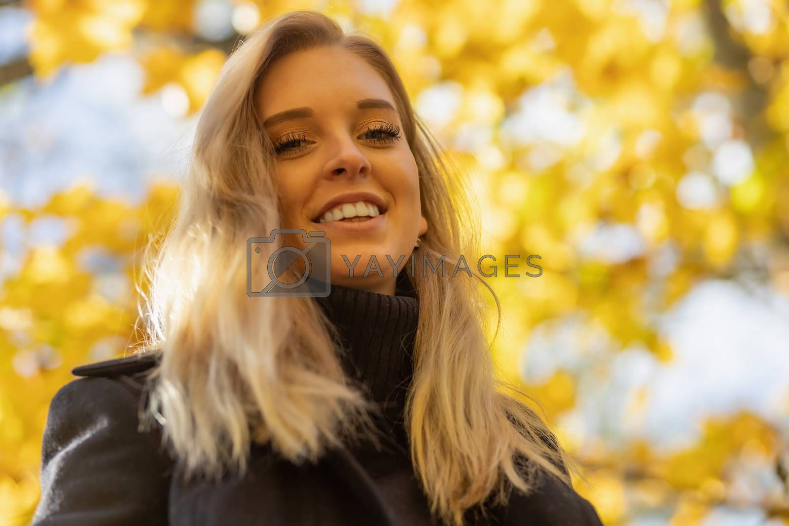 Bottom view of attractive  young woman looking at the camera. Horizontally.